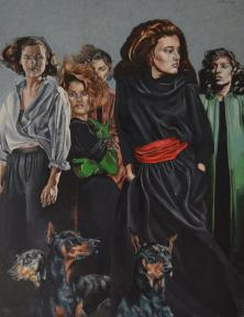 Women and Dogs 90 x 72cm Oil
